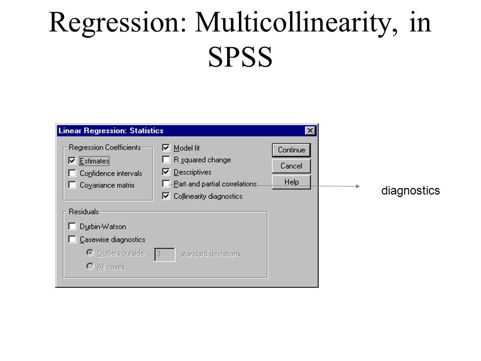 Regression: Multicollinearity, in SPSS