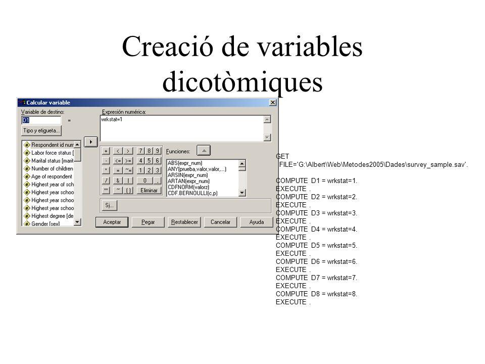 Creació de variables dicotòmiques