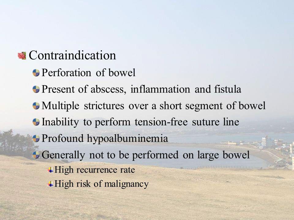 Contraindication Perforation of bowel