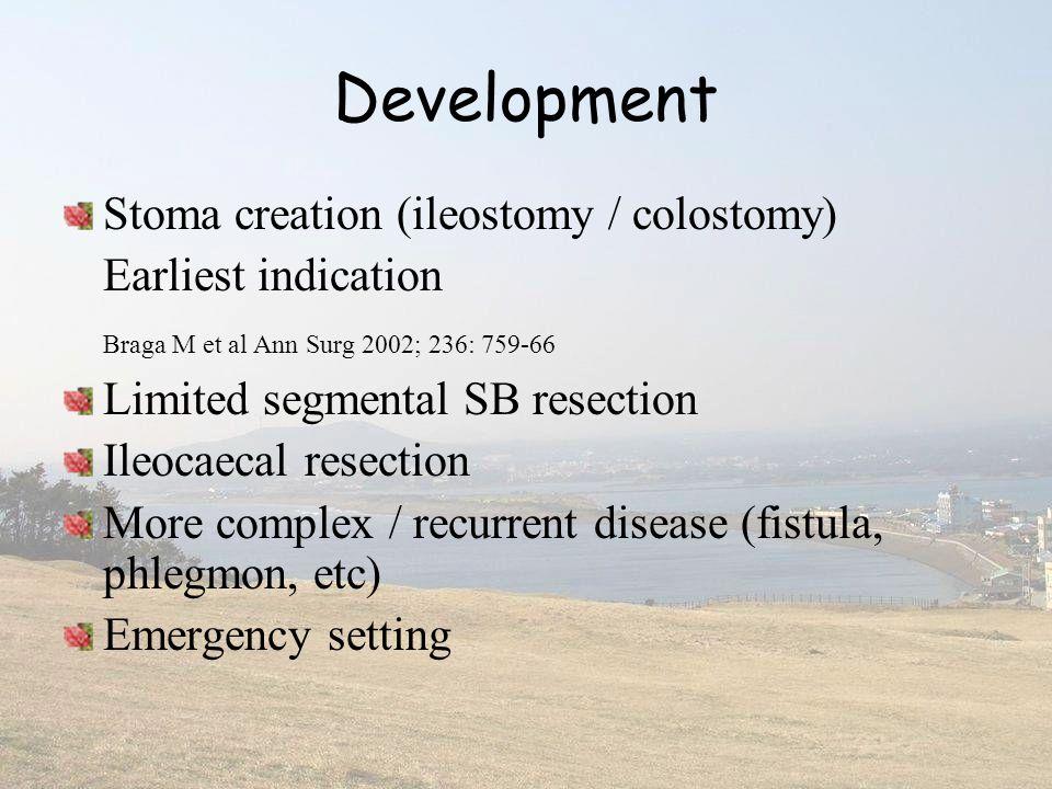 Development Stoma creation (ileostomy / colostomy) Earliest indication