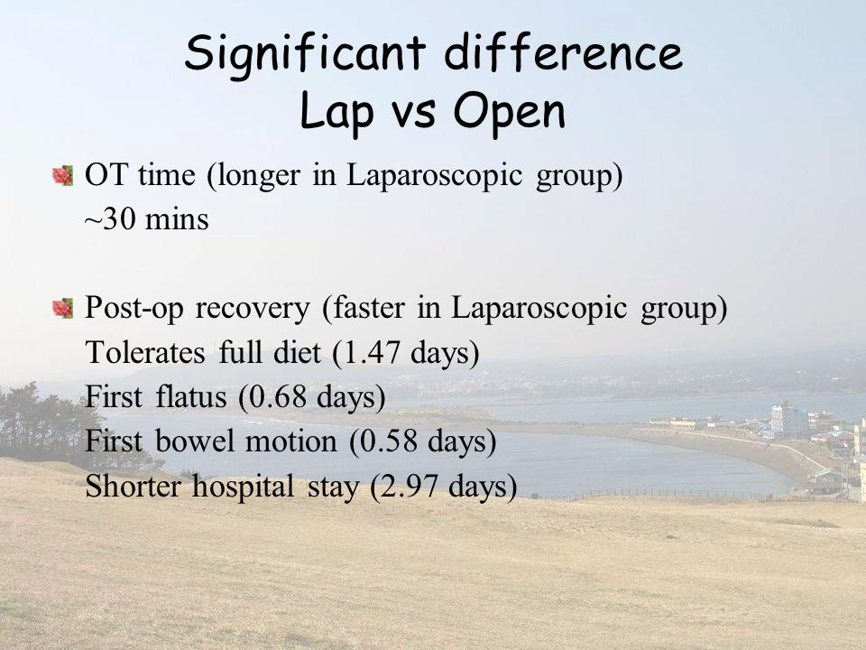 Significant difference Lap vs Open
