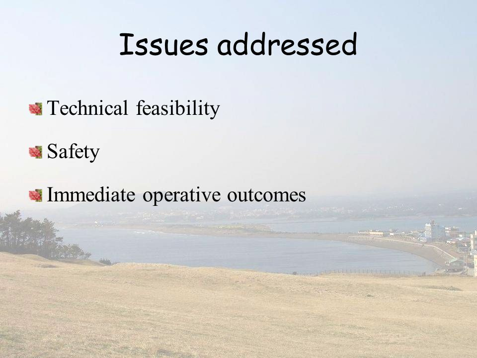 Issues addressed Technical feasibility Safety