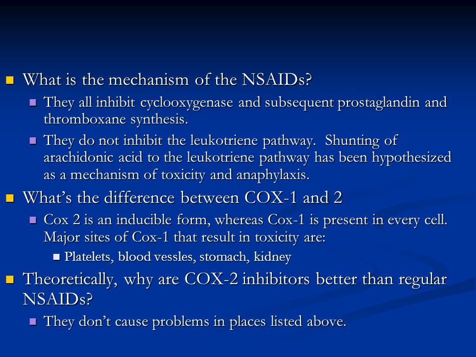 What is the mechanism of the NSAIDs