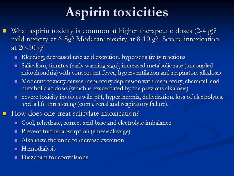 Aspirin toxicities