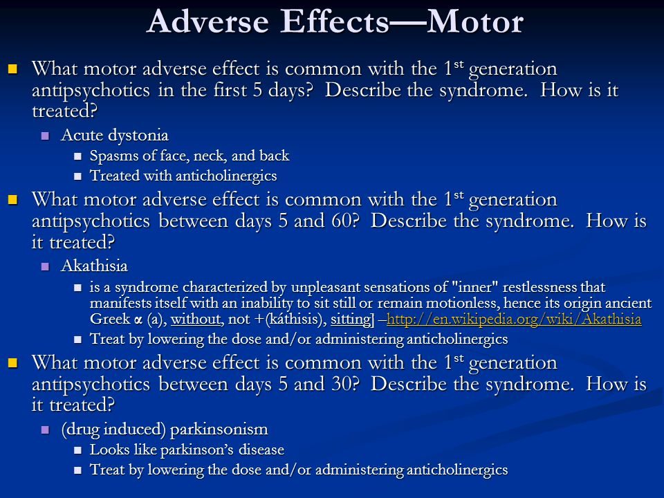 Adverse Effects—Motor