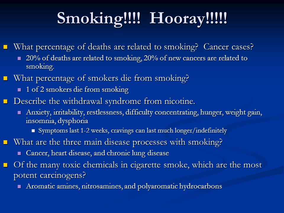 Smoking!!!! Hooray!!!!! What percentage of deaths are related to smoking Cancer cases