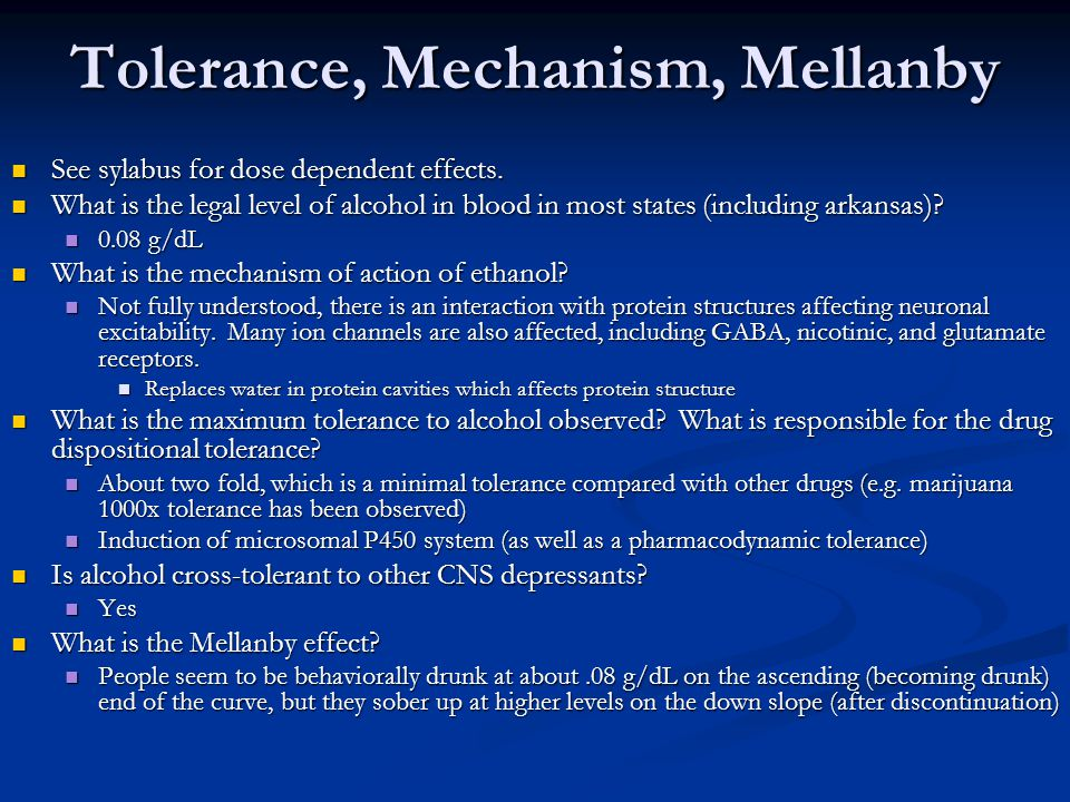 Tolerance, Mechanism, Mellanby