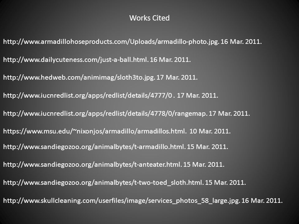 Works Cited http://www.armadillohoseproducts.com/Uploads/armadillo-photo.jpg. 16 Mar. 2011.