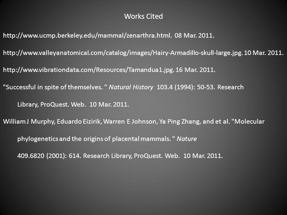 Works Cited http://www.ucmp.berkeley.edu/mammal/zenarthra.html. 08 Mar. 2011.