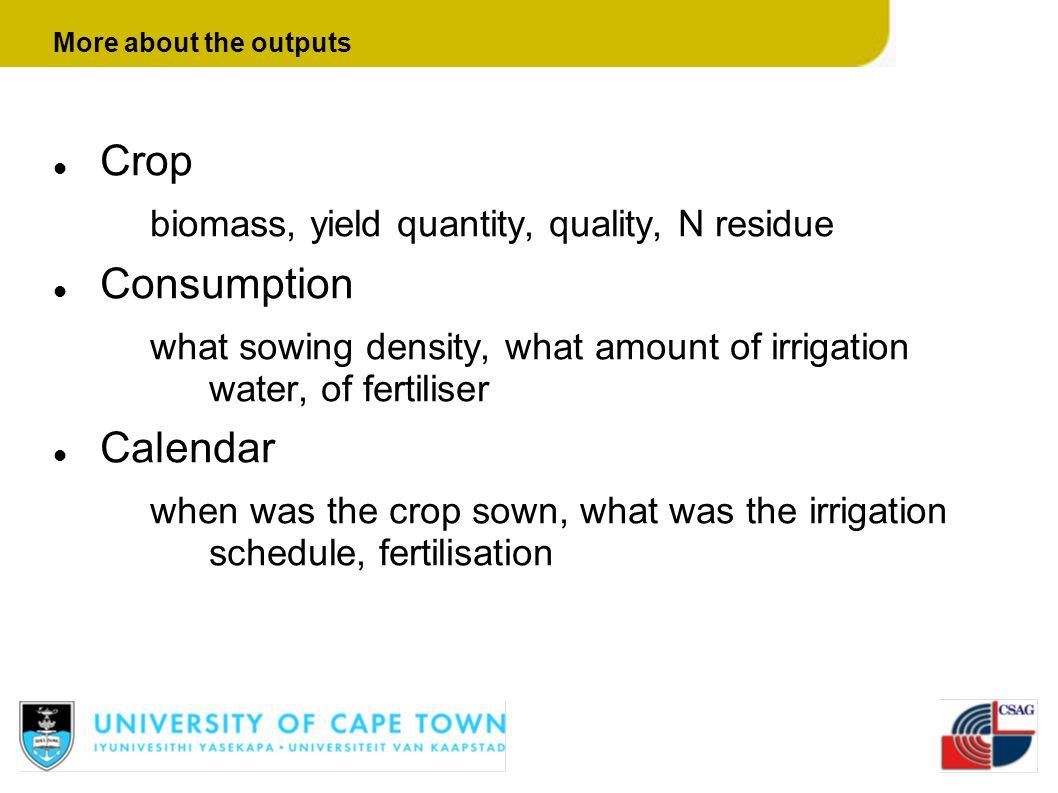 Crop Consumption Calendar biomass, yield quantity, quality, N residue