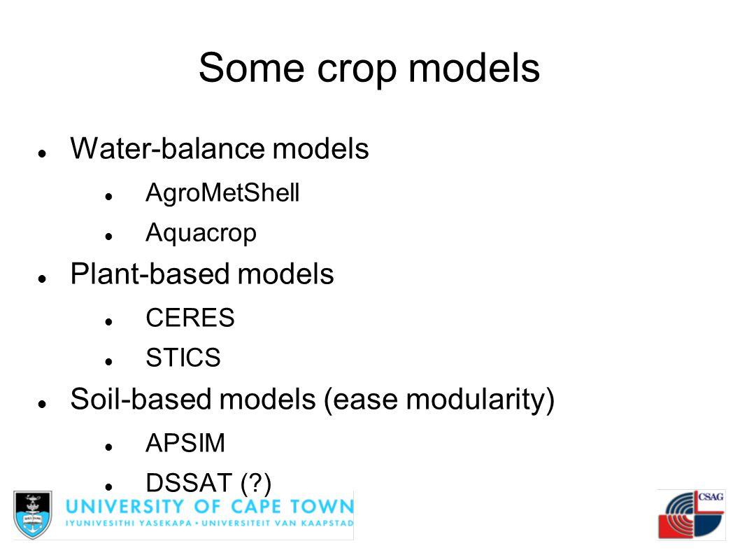 Some crop models Water-balance models Plant-based models