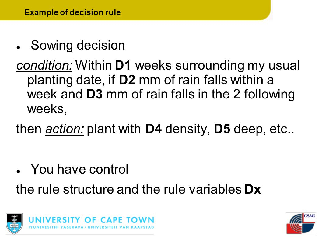 Example of decision rule