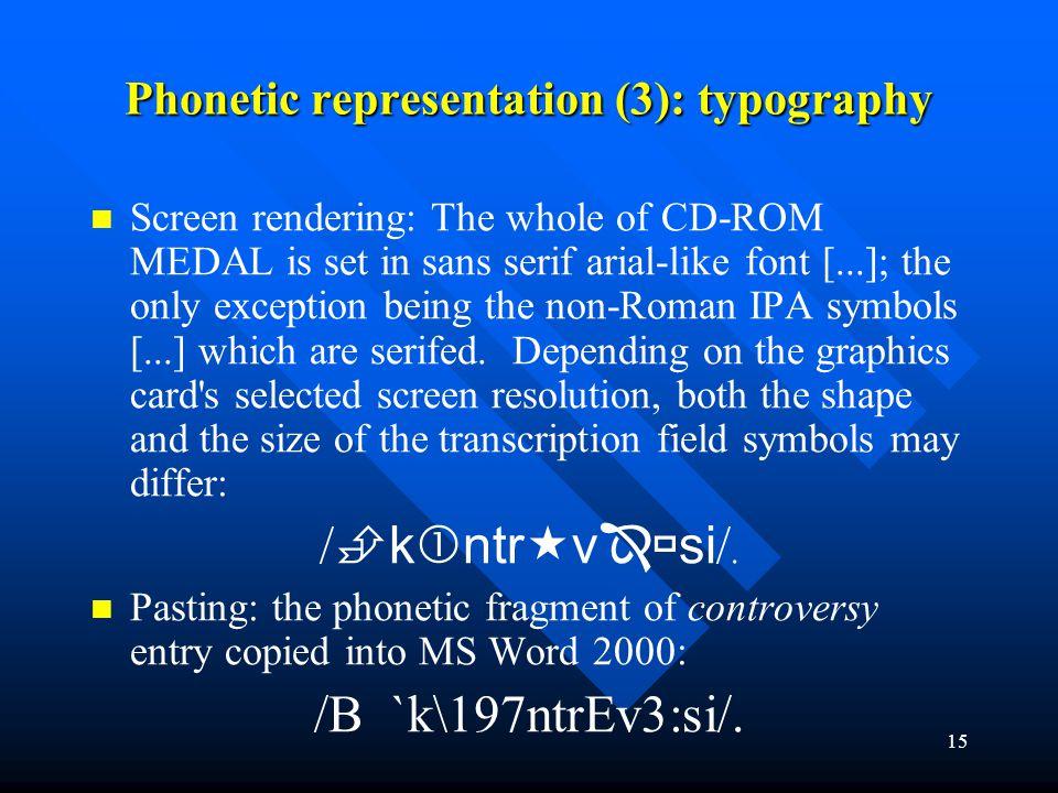 Phonetic representation (3): typography