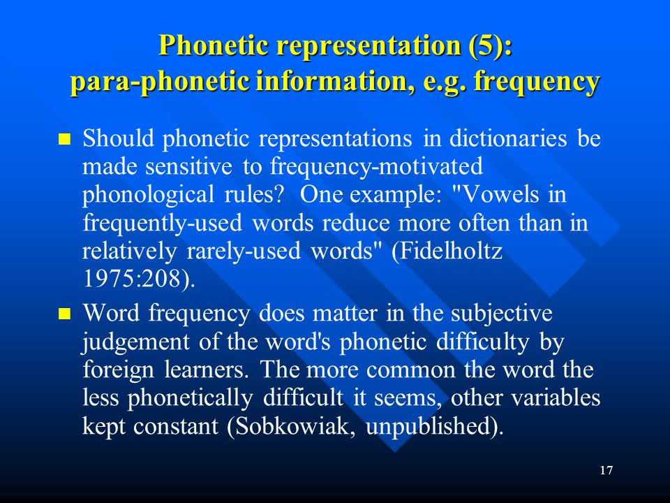 Phonetic representation (5): para-phonetic information, e.g. frequency
