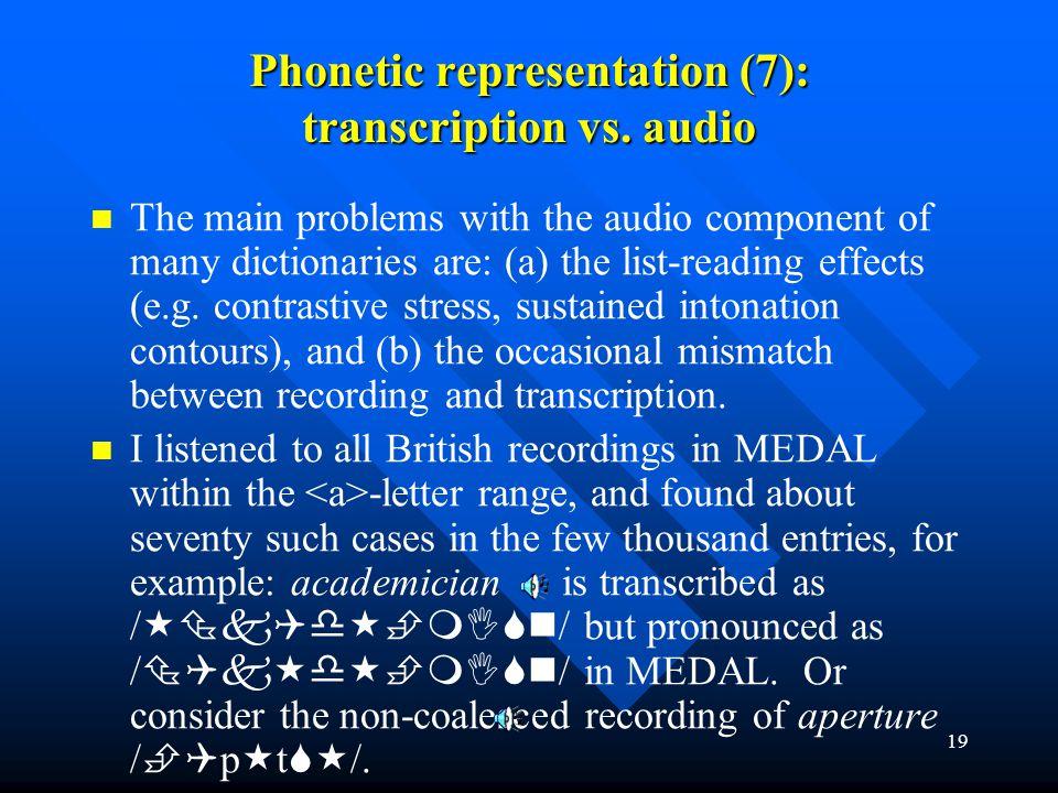 Phonetic representation (7): transcription vs. audio