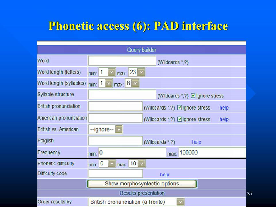 Phonetic access (6): PAD interface