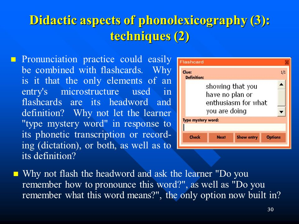 Didactic aspects of phonolexicography (3): techniques (2)