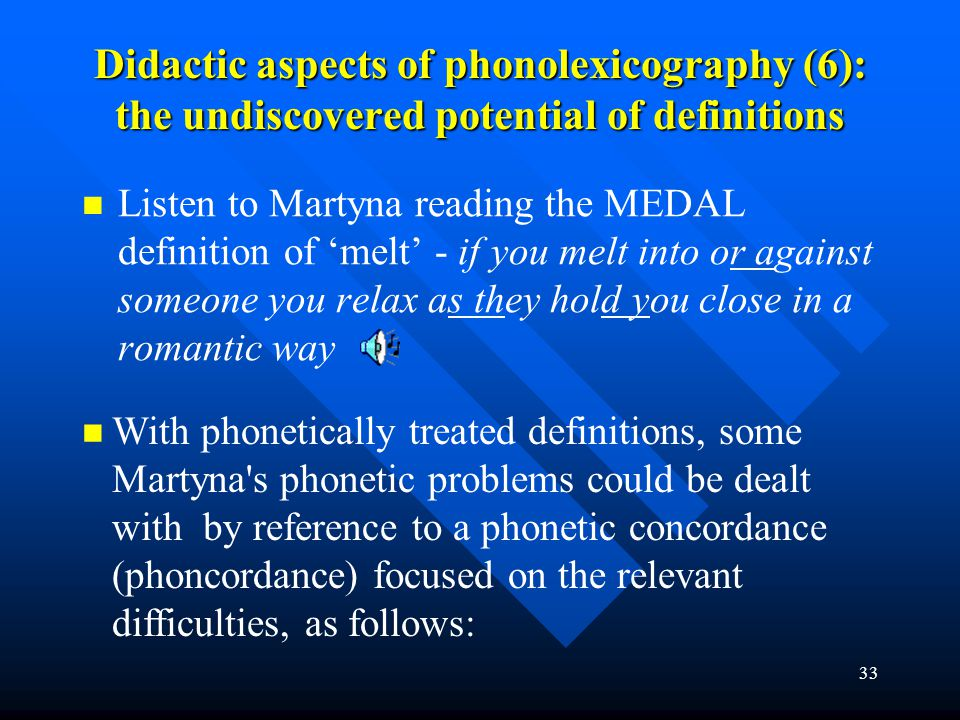 Didactic aspects of phonolexicography (6): the undiscovered potential of definitions