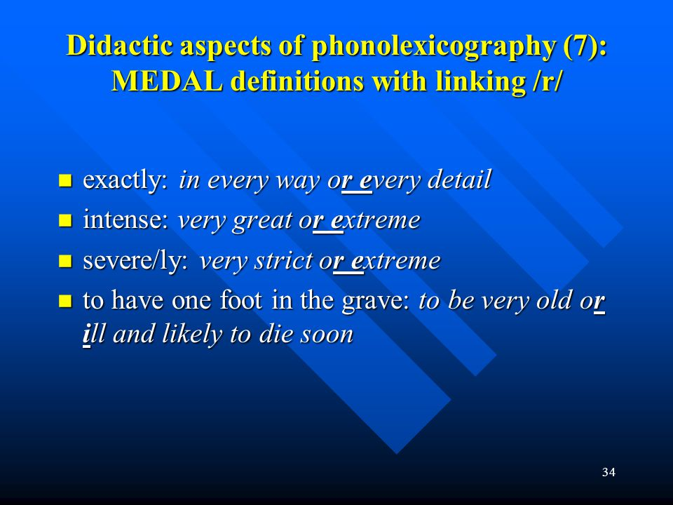 Didactic aspects of phonolexicography (7): MEDAL definitions with linking /r/