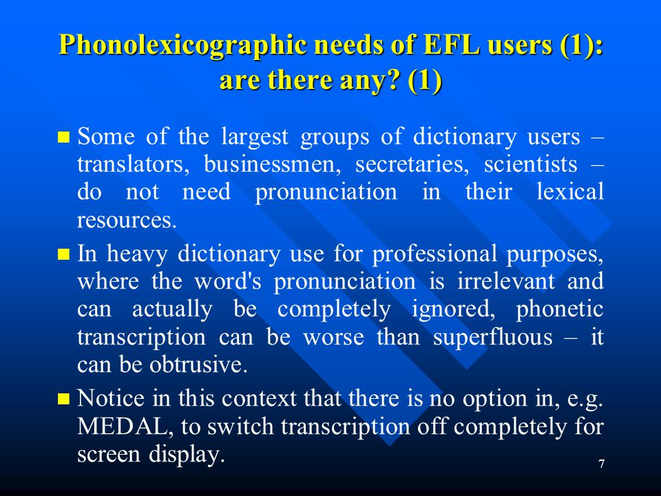 Phonolexicographic needs of EFL users (1): are there any (1)