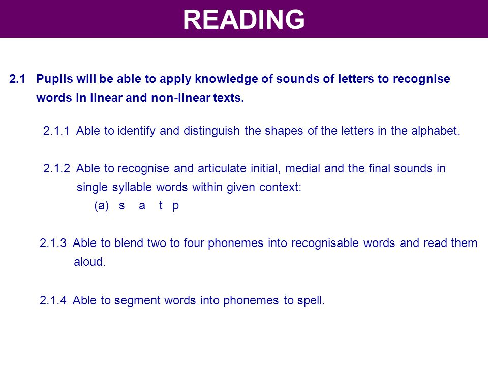 READING 2.1 Pupils will be able to apply knowledge of sounds of letters to recognise. words in linear and non-linear texts.