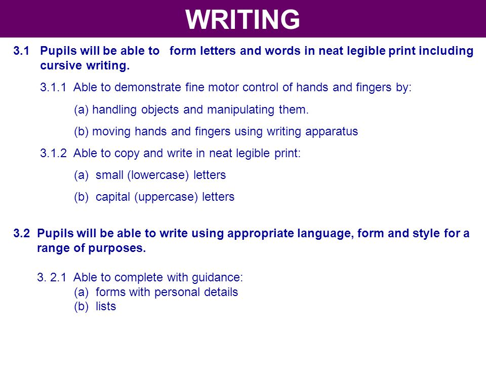 WRITING 3.1 Pupils will be able to form letters and words in neat legible print including. cursive writing.