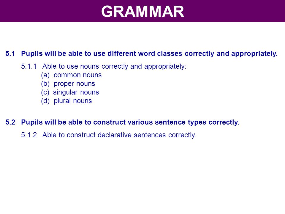 GRAMMAR 5.1 Pupils will be able to use different word classes correctly and appropriately. 5.1.1 Able to use nouns correctly and appropriately: