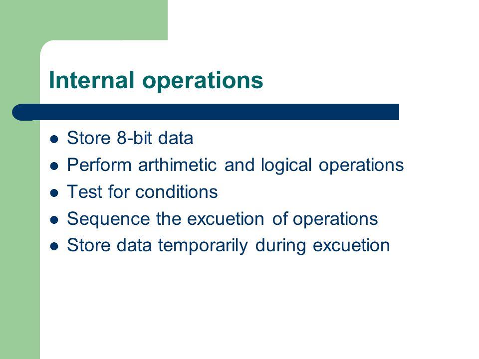 Internal operations Store 8-bit data