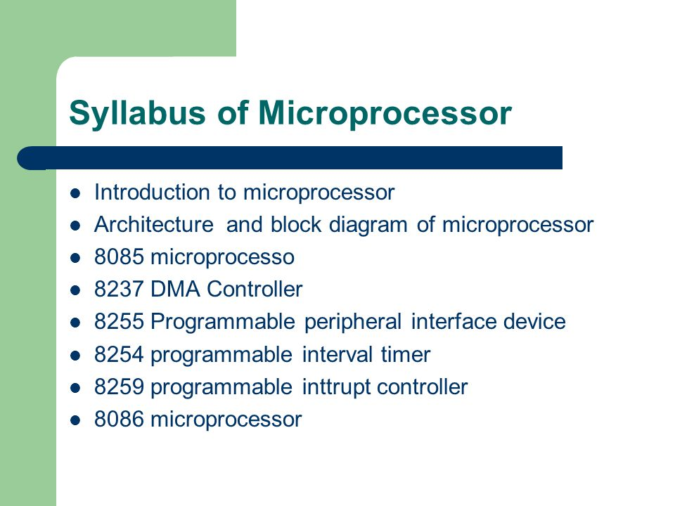 Syllabus of Microprocessor