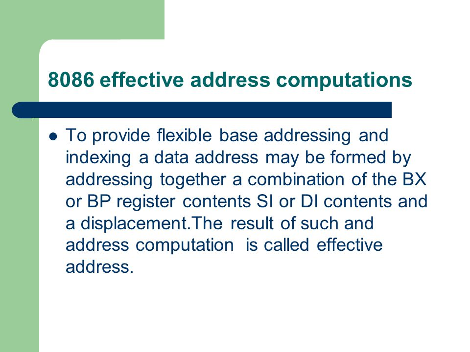 8086 effective address computations