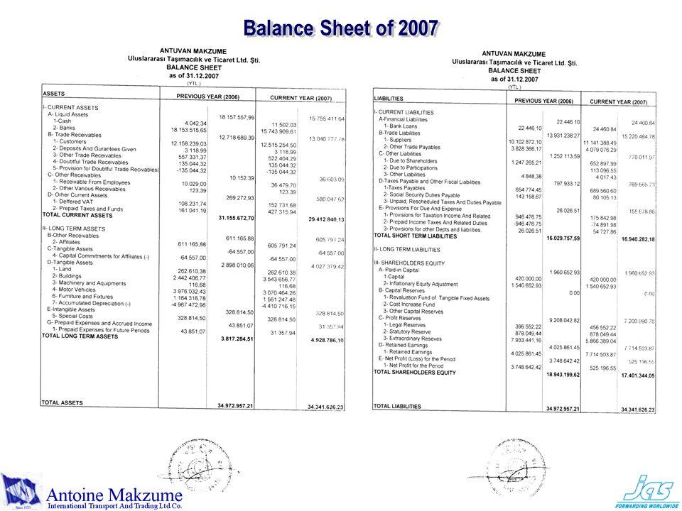 Balance Sheet of 2007