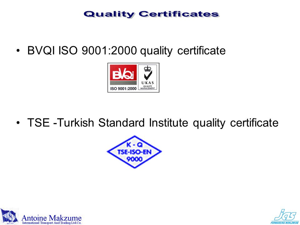 BVQI ISO 9001:2000 quality certificate