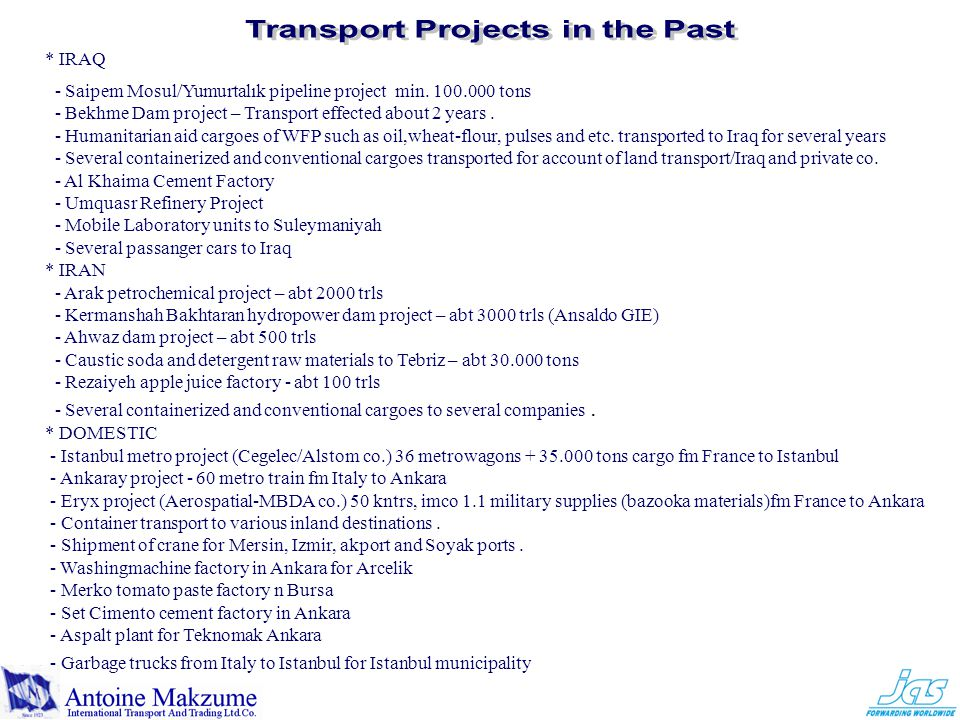 Transport Projects in the Past