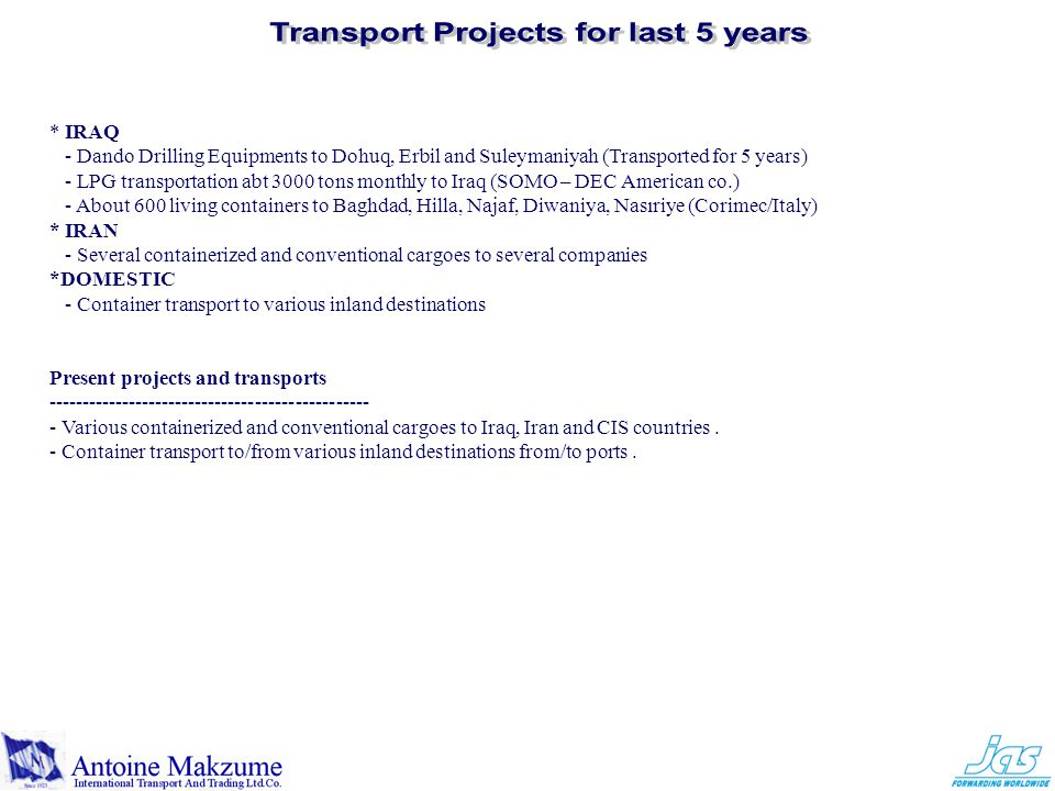 Transport Projects for last 5 years