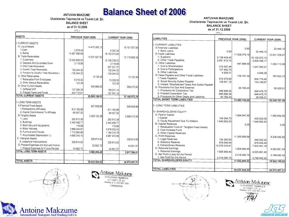 Balance Sheet of 2006