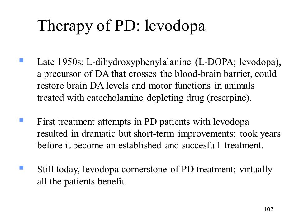 Therapy of PD: levodopa