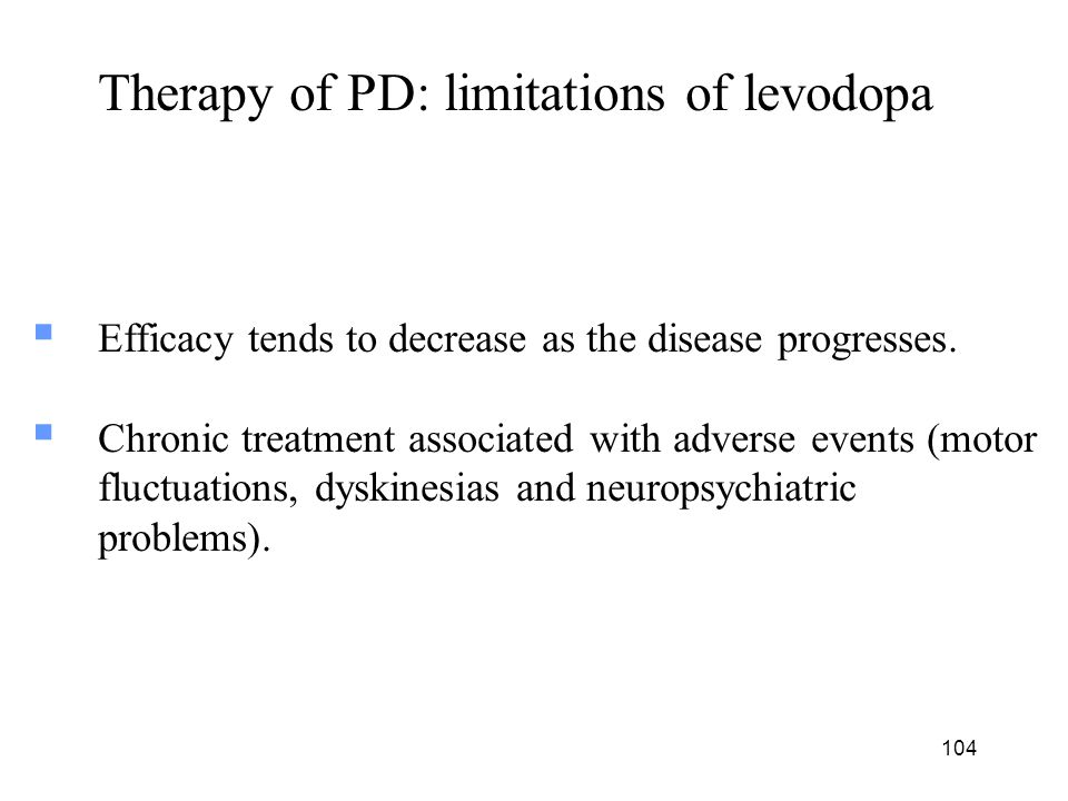 Therapy of PD: limitations of levodopa