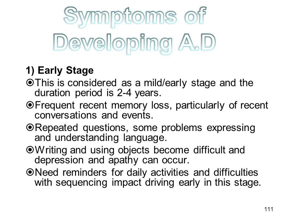 Symptoms of Developing A.D
