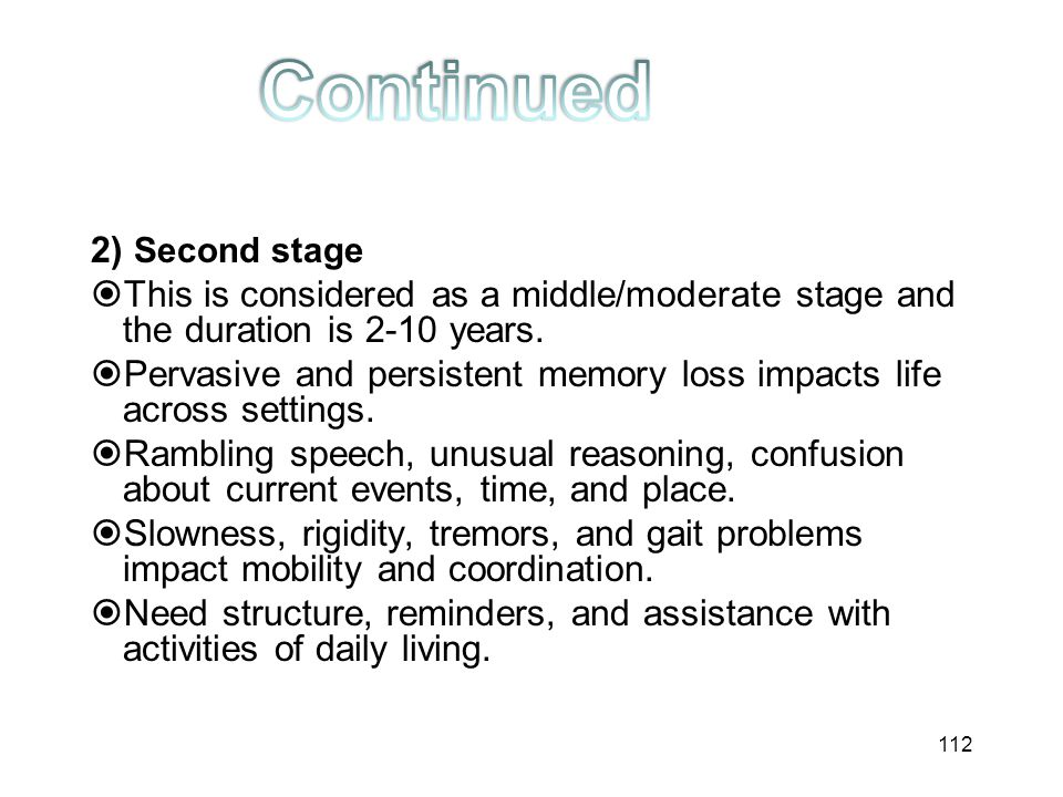 Continued 2) Second stage