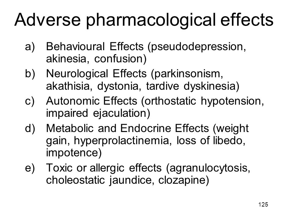 Adverse pharmacological effects