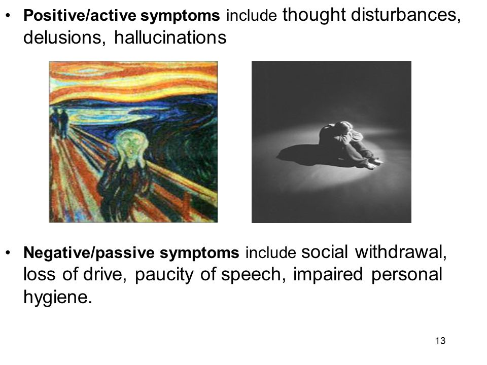 Positive/active symptoms include thought disturbances, delusions, hallucinations