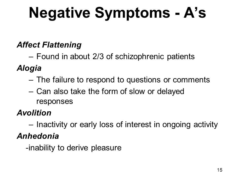 Negative Symptoms - A's