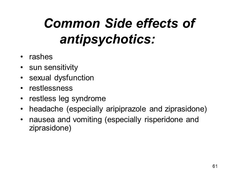 Common Side effects of antipsychotics: