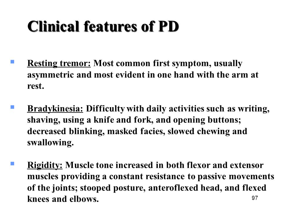 Clinical features of PD