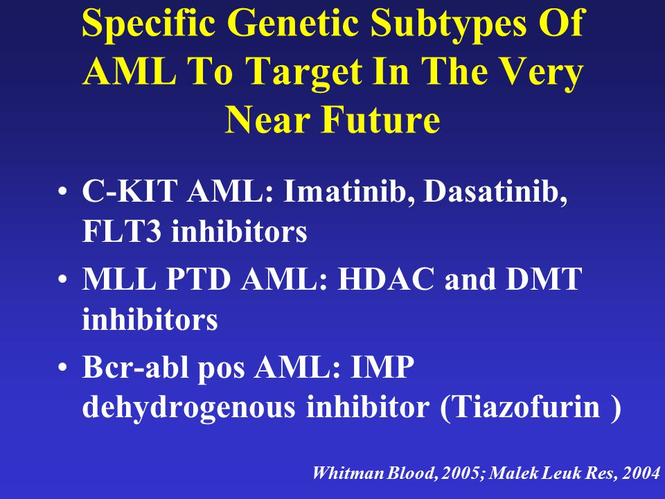 Specific Genetic Subtypes Of AML To Target In The Very Near Future