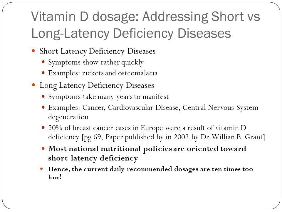 Vitamin D dosage: Addressing Short vs Long-Latency Deficiency Diseases
