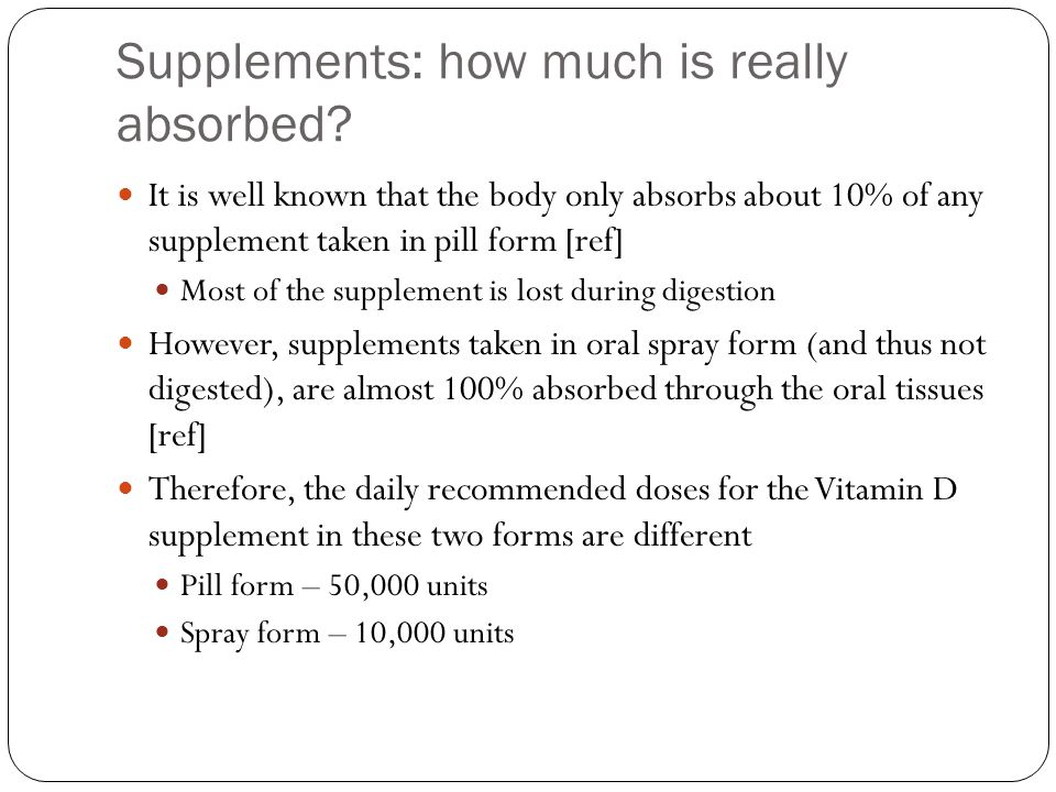Supplements: how much is really absorbed