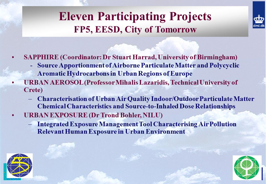Eleven Participating Projects FP5, EESD, City of Tomorrow