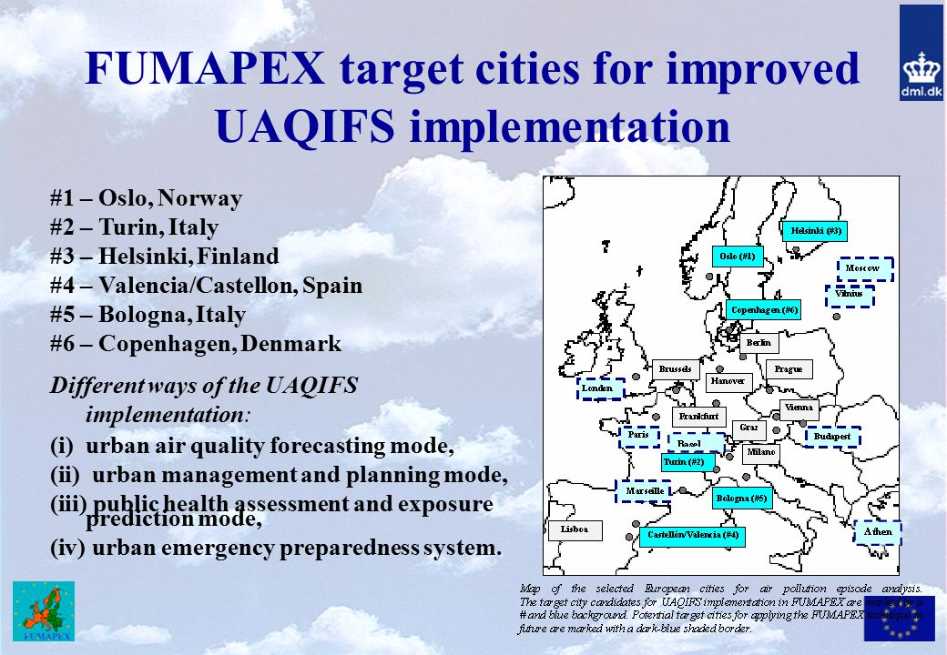 FUMAPEX target cities for improved UAQIFS implementation
