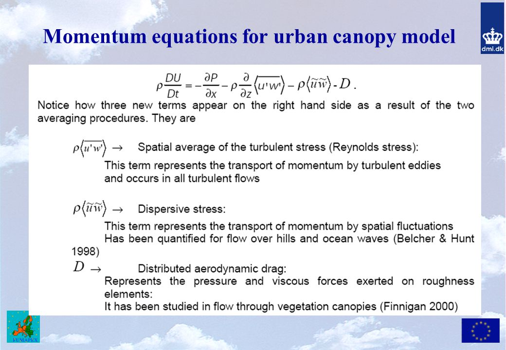 Momentum equations for urban canopy model